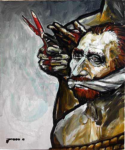 Nikolaus Pessler, Um meinen Forderungen Nachdruck zu verleihen - schickte ich van Goghs Ohr mit..., Miscellaneous, Contemporary Art, Abstract Expressionism