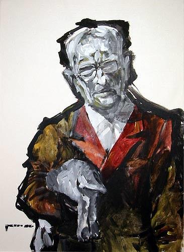 Nikolaus Pessler, Adolf Eichmann erklärt einem toten Hasen die Arbeitsweise kleiner Rädchen ..., Miscellaneous, Contemporary Art, Abstract Expressionism