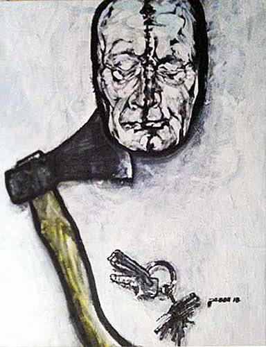 Nikolaus Pessler, Stillleben mit selbstbemalter Totenmaske von Günter Brus und limitiertem Schlüsselanhänger von Arnul, Miscellaneous, Contemporary Art