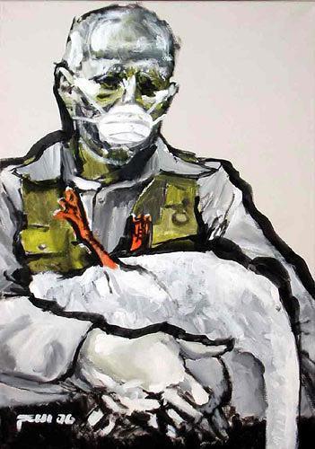 Nikolaus Pessler, Beuys erklaert einem toten Schwan die Familie der Orthomyxoviridae, Miscellaneous People, Miscellaneous, Contemporary Art, Abstract Expressionism