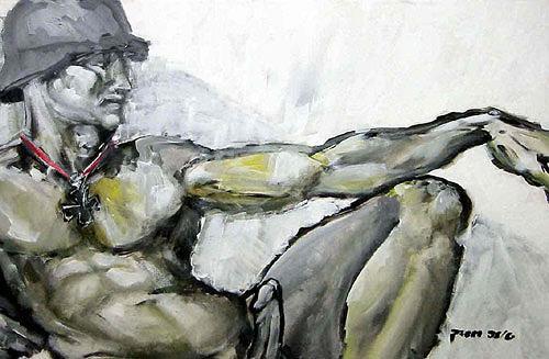 Nikolaus Pessler, Die Erschaffung Adams ..., Miscellaneous, Contemporary Art, Abstract Expressionism