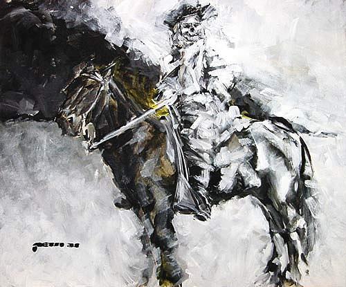 Nikolaus Pessler, General Custer vor den brennenden Ölfeldern von Ahwaz-Asmari, Miscellaneous, Contemporary Art