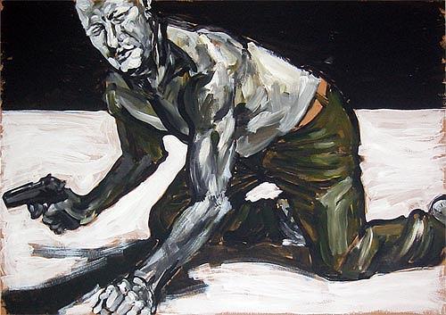 Nikolaus Pessler, Blinder Harlekin verirrt sich auf einem überdimensionalem Schüttbild von Herrmann Nitsch..., Miscellaneous, Contemporary Art, Abstract Expressionism