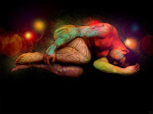 Katrin Ginster, in rainbows, 4, People: Men, Erotic motifs: Male nudes, Contemporary Art, Abstract Expressionism