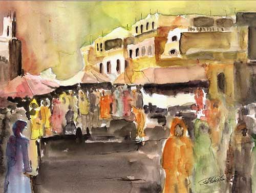 Berthold M. Rubenbauer, Souk von Marrakesch, Market, Market, Expressionism