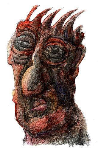 Walter  Rieseder, Kopfgeschichten, Fantasy, People: Faces, Abstract Expressionism