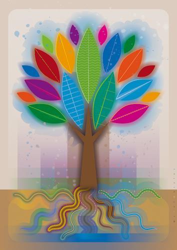 Bernd Wachtmeister, ColorLeafsSnakeRootsTree | Farbenblätter-Schlangenwurzel-Baum, Plants: Trees, Landscapes: Spring, Contemporary Art, Expressionism