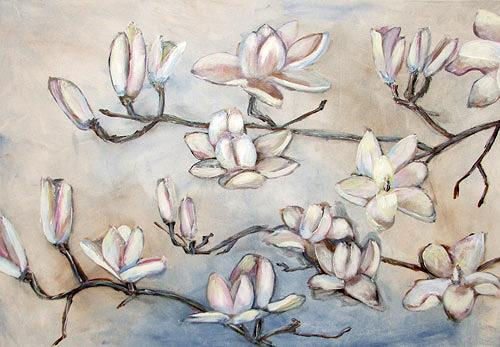 Ute Heitmann, Magnolien, weiß, Plants: Flowers, Contemporary Art