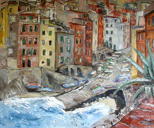 Ute Heitmann, Riomaggiore, Miscellaneous Buildings, Landscapes: Sea/Ocean, Contemporary Art