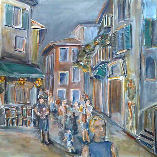 Ute Heitmann, Straße in Italien, Miscellaneous Buildings, People: Group, Contemporary Art