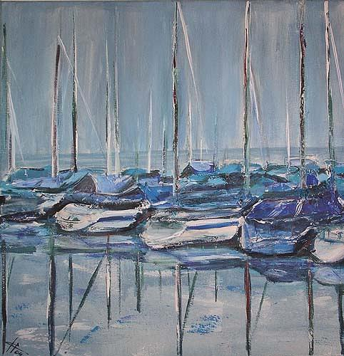 Ute Heitmann, Boote, Nature: Water, Verkehr: Ship, Contemporary Art, Expressionism