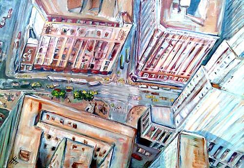 Ute Heitmann, NY Blick vom Empire State Building, Architecture, Traffic: Car, Contemporary Art