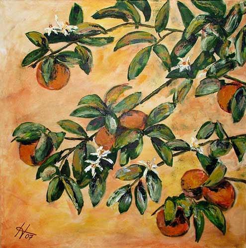 Ute Heitmann, Orangen Zweige, Plants: Fruits, Plants: Trees, Contemporary Art
