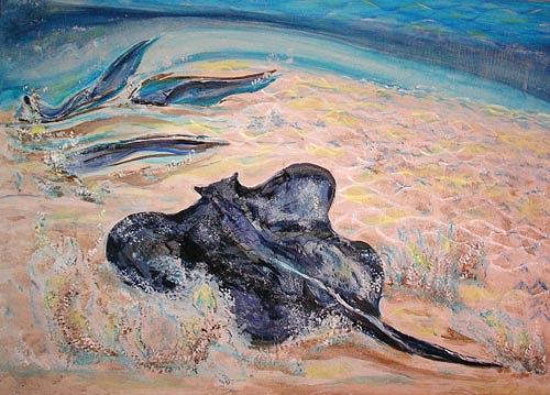 Ute Heitmann, Stingrays, Landscapes: Sea/Ocean, Animals: Water, Contemporary Art