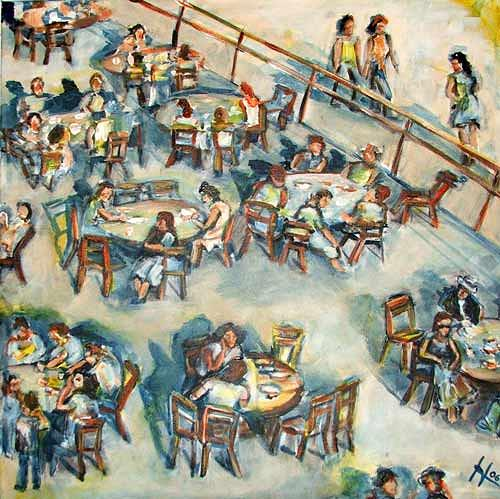 Ute Heitmann, Café, People: Group, Situations, Contemporary Art, Expressionism
