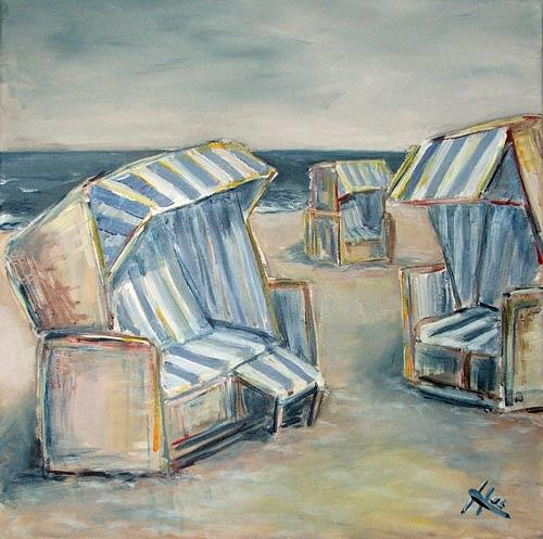 Ute Heitmann, Strandkörbe II, Leisure, Landscapes: Sea/Ocean, Contemporary Art