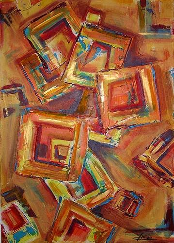 Ute Heitmann, Abstrakt Quadrat, Abstract art, Contemporary Art