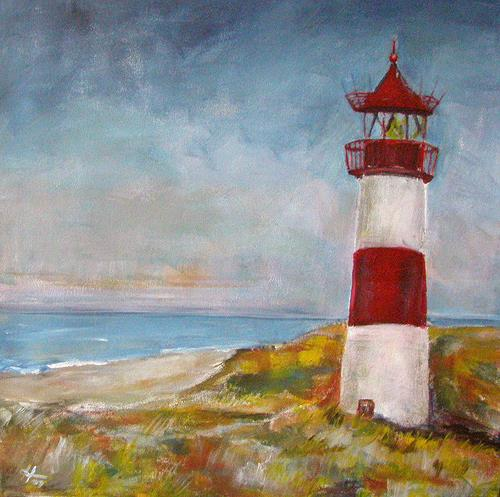 Ute Heitmann, Leuchturm auf Sylt, Landscapes: Sea/Ocean, Miscellaneous Buildings, Contemporary Art