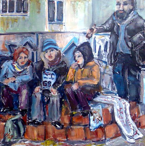 Ute Heitmann, Revolutionspause, People: Group, Contemporary Art, Expressionism