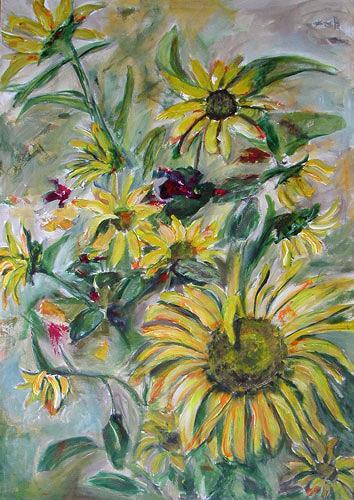 Ute Heitmann, Sonnenblumen, Decorative Art, Plants: Flowers, Contemporary Art