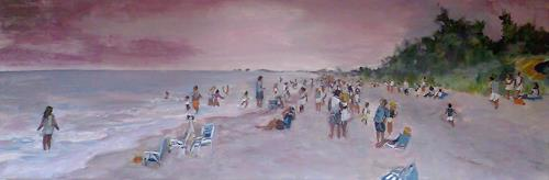 Ute Heitmann, Sunset Captiva, Leisure, People: Group, Contemporary Art, Expressionism