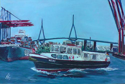 Ute Heitmann, Barkasse Hein, Verkehr: Ship, Landscapes: Sea/Ocean, Contemporary Art
