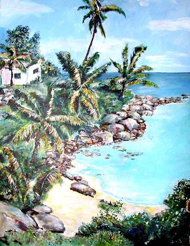 Ute Heitmann, Seychellen_2, Landscapes: Tropics, Plants: Palm, Contemporary Art