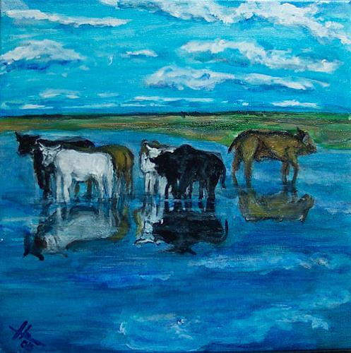 Ute Heitmann, Kühe im Wasser, Animals: Land, Nature: Water, Contemporary Art
