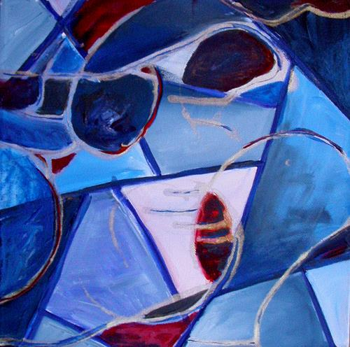 Ute Heitmann, Blue Person, Abstract art, People: Faces, Contemporary Art