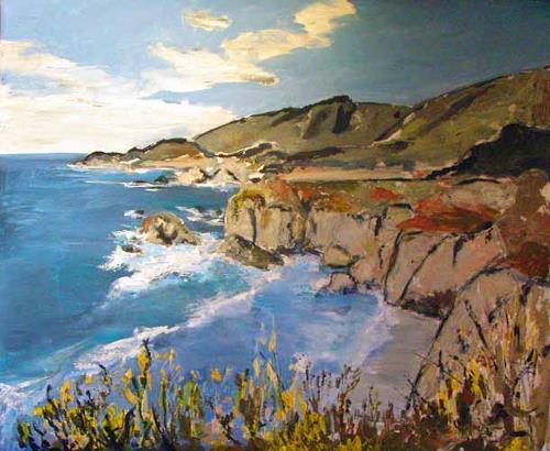 Ute Heitmann, Kalifornien Klippen, Landscapes: Sea/Ocean, Landscapes: Hills, Contemporary Art