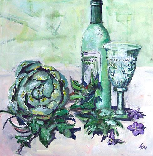 Ute Heitmann, Stilleben mit Artischocke, Still life, Plants: Fruits, Contemporary Art