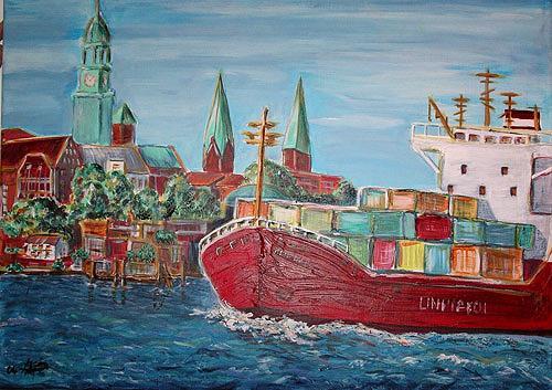 Ute Heitmann, Hamburg Containerschiff, Miscellaneous Buildings, Contemporary Art