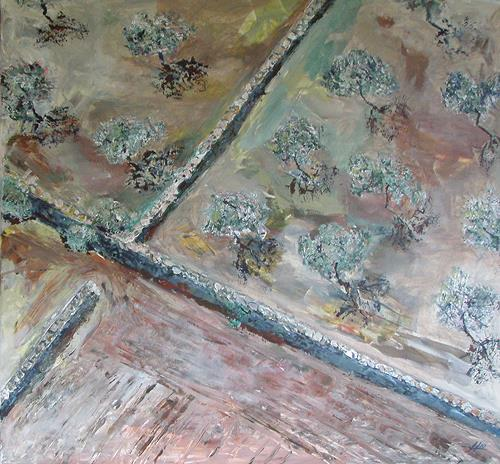 Ute Heitmann, Olivenhain von oben, Landscapes: Plains, Plants: Trees, Contemporary Art