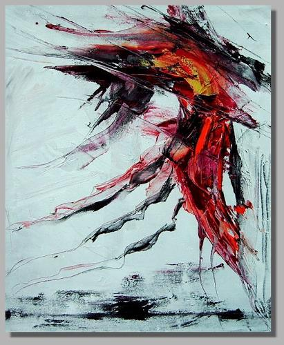 Ruth Batke, finally he wondered why he couldn´t feel his petrified heart anymore, Abstract art, Emotions: Depression