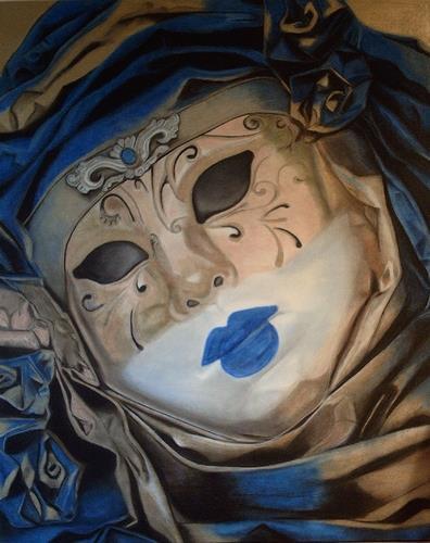 Annett Magnabosco, Venezianische Maske1, Carnival, Realism, Expressionism