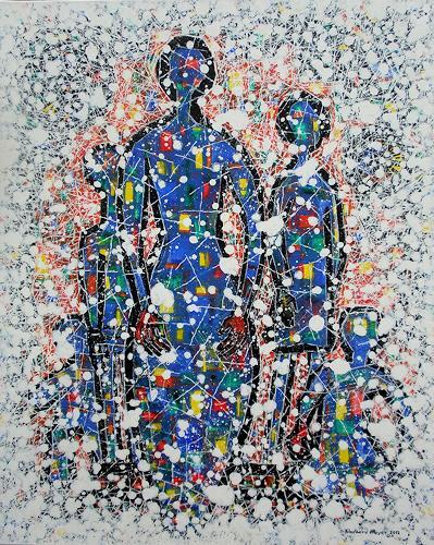Friedhard Meyer, Mutter mit Kindern, People: Women, People: Children, Contemporary Art, Expressionism