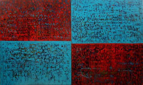 Friedhard Meyer, Rot trifft Türkis, Abstract art, Decorative Art, Contemporary Art