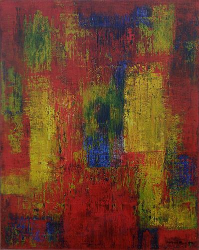 Friedhard Meyer, Dominantes Rot, Abstract art, Fantasy, Contemporary Art