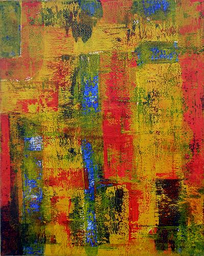 Friedhard Meyer, Rot trifft Blau, Abstract art, Fantasy, Contemporary Art
