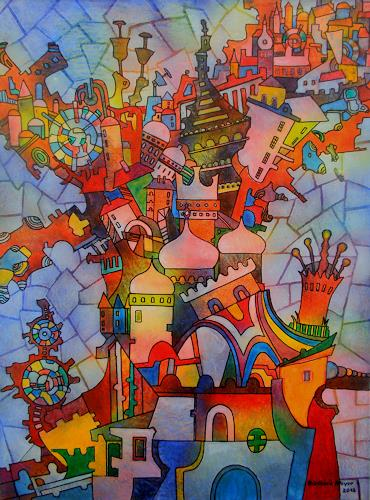 Friedhard Meyer, Anden Himmel gebaut, Miscellaneous Buildings, Fantasy, Contemporary Art, Expressionism