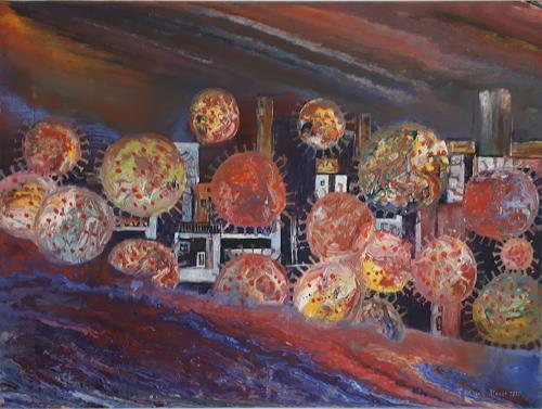 Friedhard Meyer, Corona 3 - Flug der Viren, Fantasy, Miscellaneous Landscapes, Contemporary Art