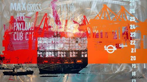 Meike Kohls, Containerterminal, Verkehr: Ship, Landscapes: Sea/Ocean, Pop-Art, Abstract Expressionism