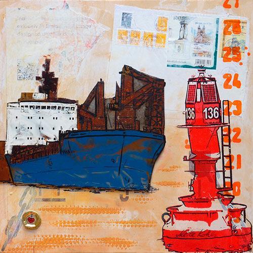 Meike Kohls, Frachter - Freighter, Landscapes: Sea/Ocean, Traffic, Pop-Art, Abstract Expressionism