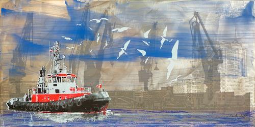 Meike Kohls, Hafenschlepper -Tug Boat, Landscapes: Sea/Ocean, Verkehr: Ship, Contemporary Art, Abstract Expressionism