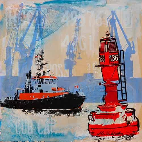 Meike Kohls, Schlepper vor Tonne 136 - Tug Boat in front of buoy 136, Landscapes: Sea/Ocean, The world of work, Contemporary Art