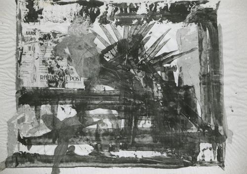 Gautam, Collage auf Zeitungsblatt, People: Women, Fantasy, Neo-Realism