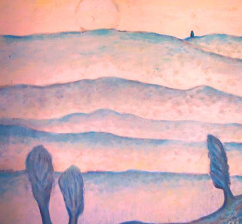 Christophorus Hardenbicker, Mondnacht 1987, Landscapes: Hills, Impressionism