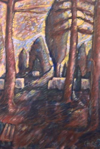 Christophorus Hardenbicker, Spätherbstnacht 1986, Landscapes: Plains, Impressionism