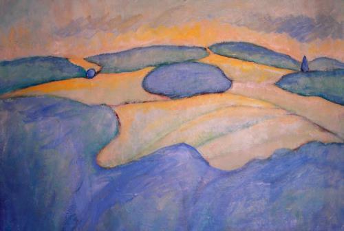 Christophorus Hardenbicker, Blaue Wälder 1983, Landscapes: Hills, Impressionism