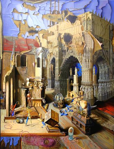 Michael Lassel, Bau und Verfall der Kathedrale, Architecture, Buildings: Churches, Realism, Abstract Expressionism